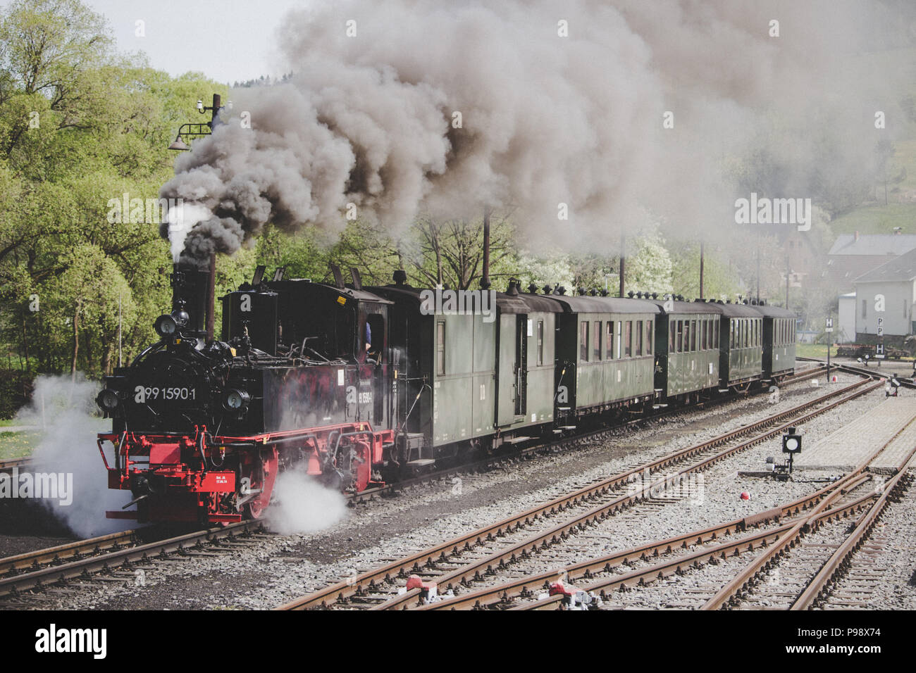 Steam Train in Station - Stock Image
