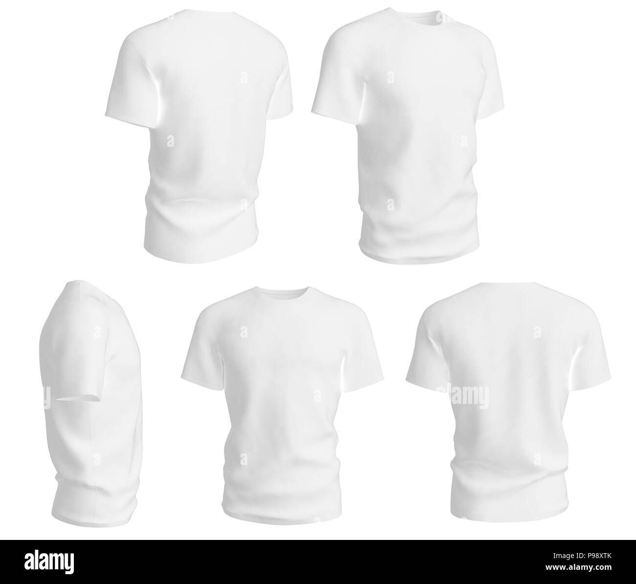 Set Of Man White T Shirts Design Template Isolated On White