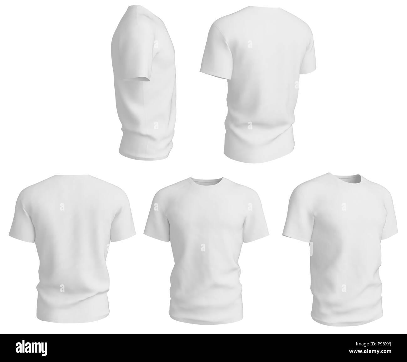 Set of man white t shirts design template isolated on white set of man white t shirts design template isolated on white background 3d render maxwellsz