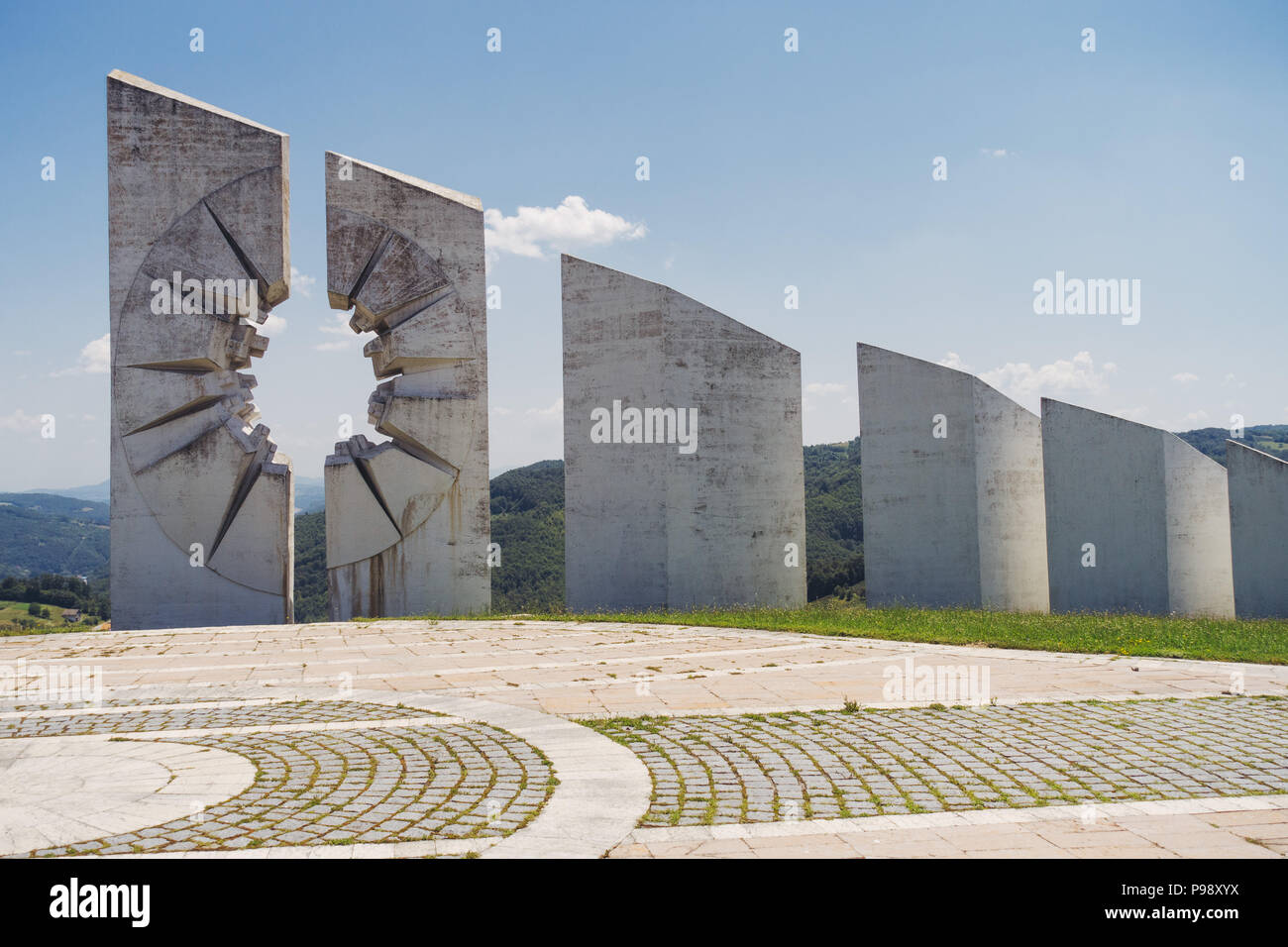 the sweeping white concrete slabs commemorating fallen Partisan fighters at the Kadinjača Memorial Complex, Serbia Stock Photo