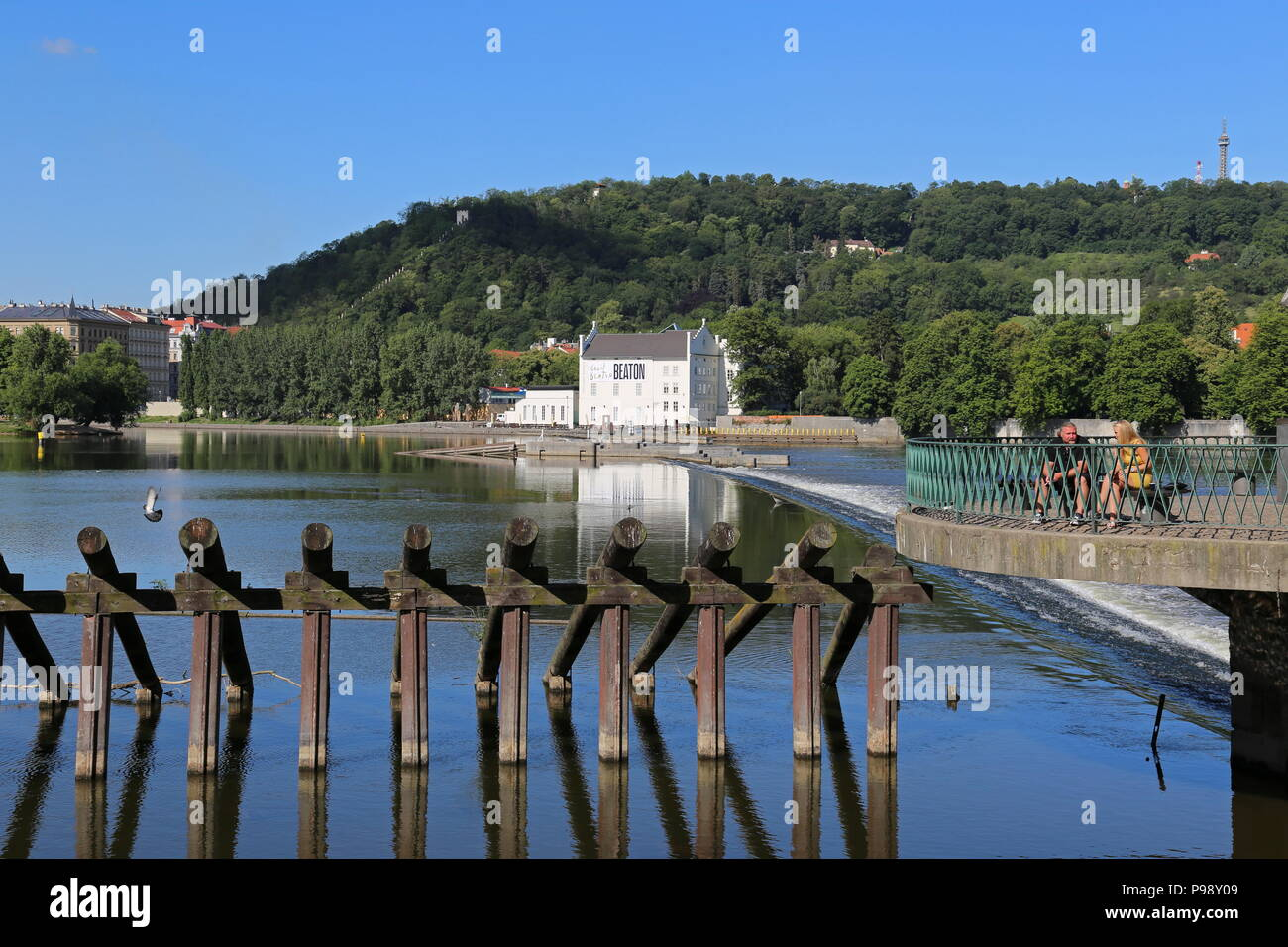 Kampa Museum of Modern Art  and Petřín Hill seen from across the Vltava river. Malá Strana (Little Quarter), Prague, Czechia (Czech Republic), Europe Stock Photo