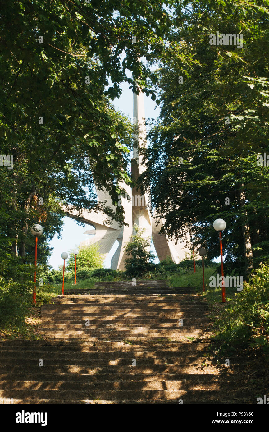 the towering, pointy poured concrete of the Monument to the Fallen Soldiers of the Kosmaj Detachment, Serbia Stock Photo