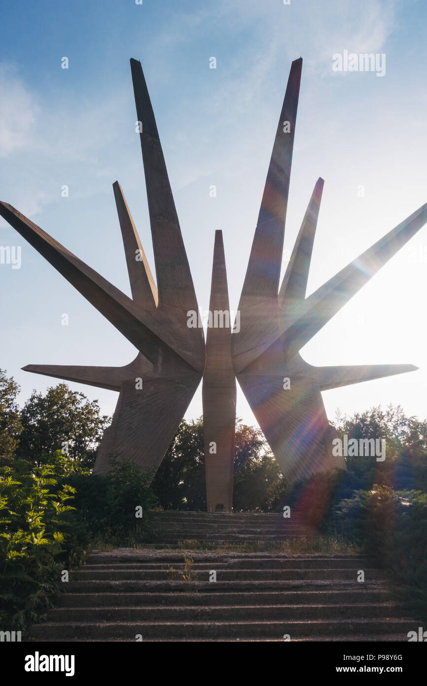 The Kosmaj Memorial Complex, a pointy star-like monument erected to the south of Belgrade, Serbia to commemorate fallen soldiers Stock Photo