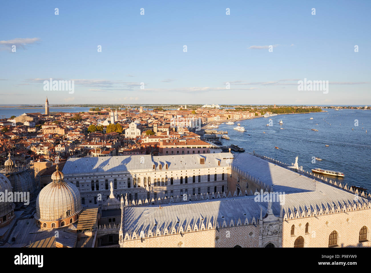 Aerial view of Venice before sunset, Italy - Stock Image
