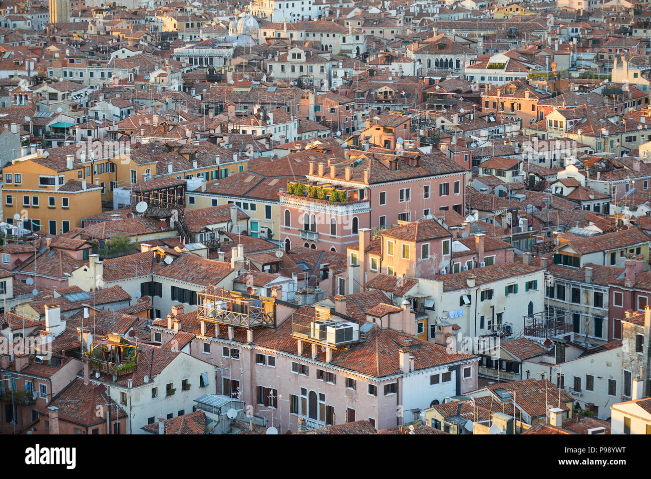Aerial view of Venice rooftops before sunset, Italy - Stock Image