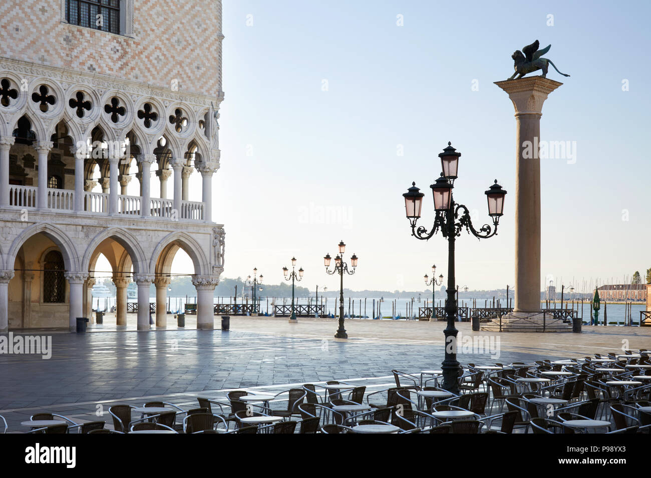 San Marco square at sunrise, nobody in Venice, Italy - Stock Image