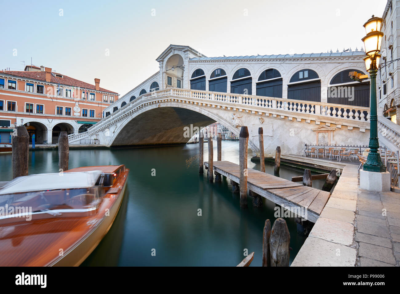 The Grand Canal and Rialto bridge in the early morning, nobody in Venice, Italy - Stock Image