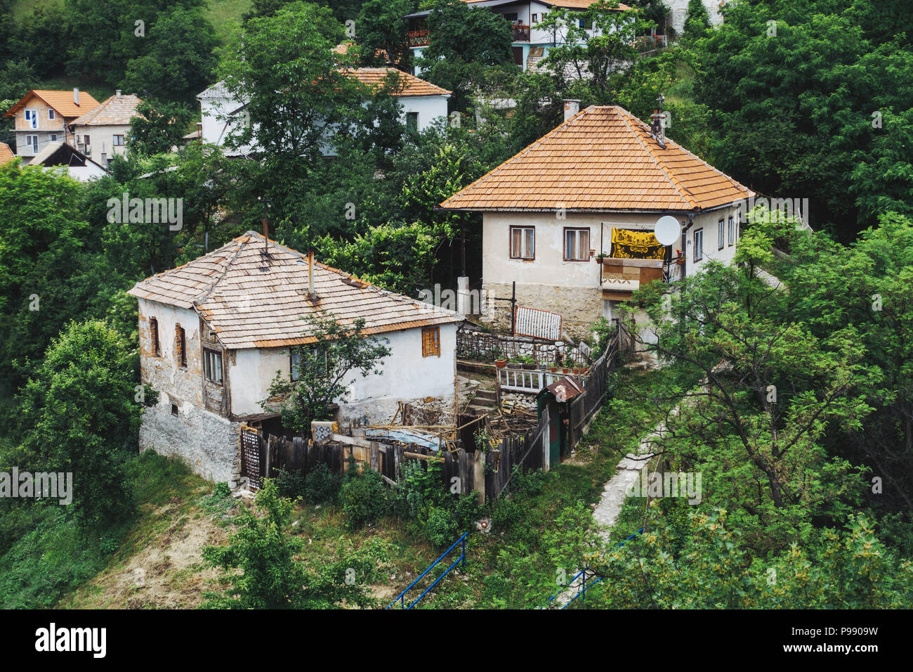 a quaint little house in the small town of Jajce, Bosnia and Herzegovina Stock Photo