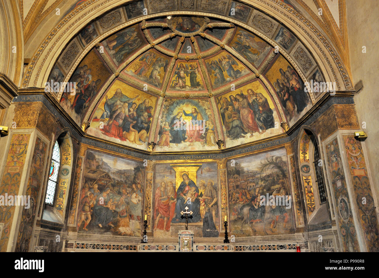 italy, rome, church of sant'onofrio al gianicolo, apse frescos of the Stories of Mary attributed to Baldassare Peruzzi Stock Photo