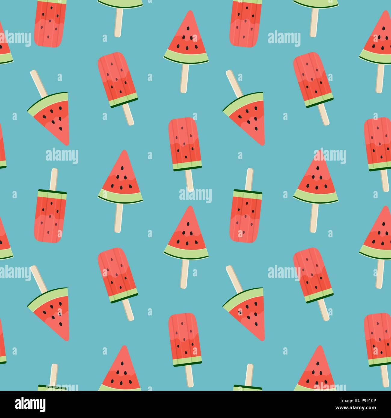 Watermelon Ice Cream Seamless Pattern Background Vector Illustration Stock Vector