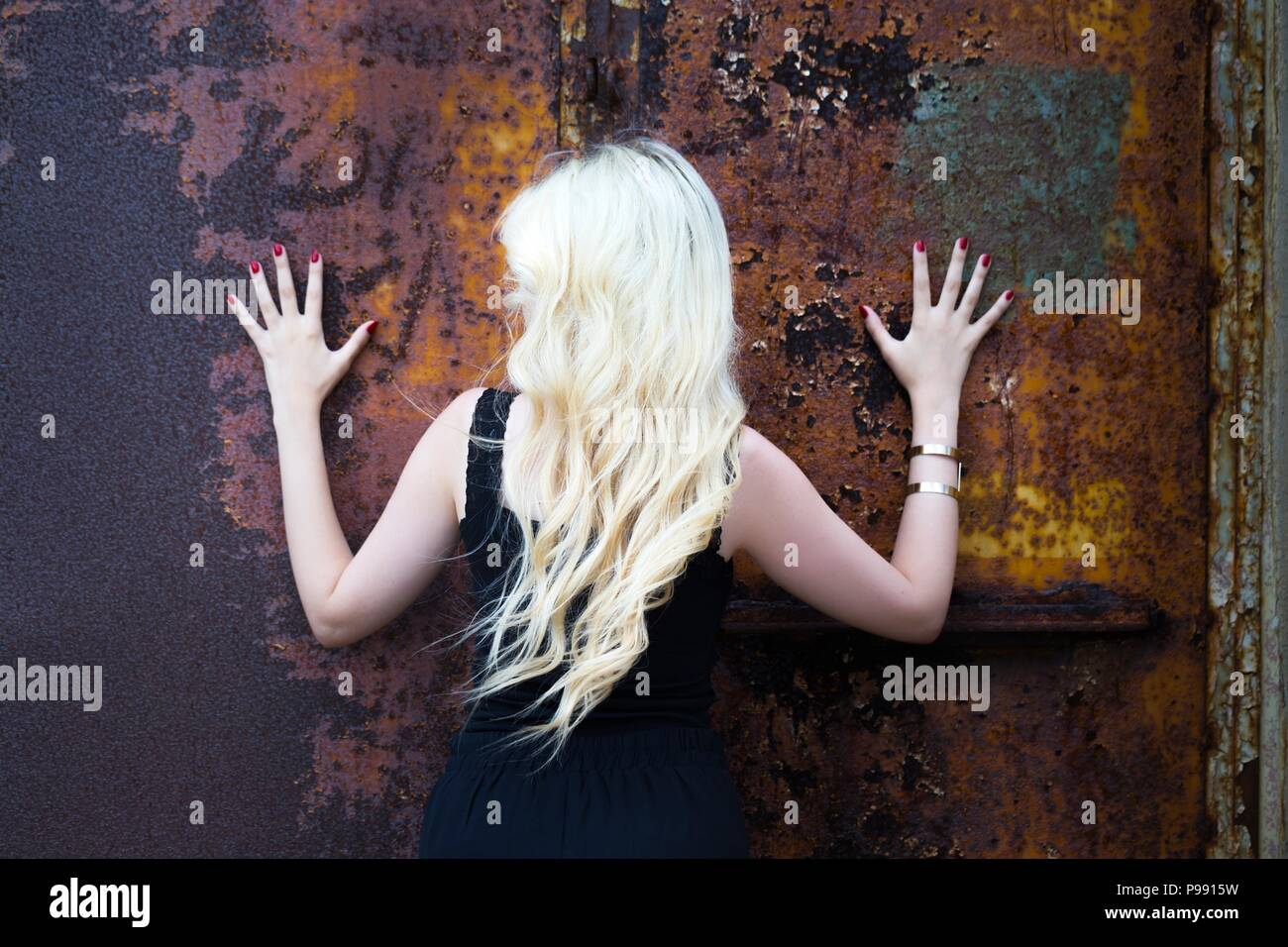 Bleached hair blonde young woman Stock Photo