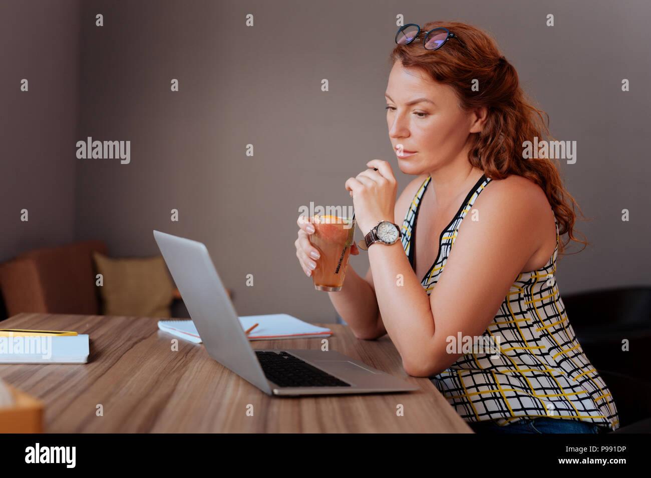 Freelance writer feeling thoughtful creating new idea - Stock Image