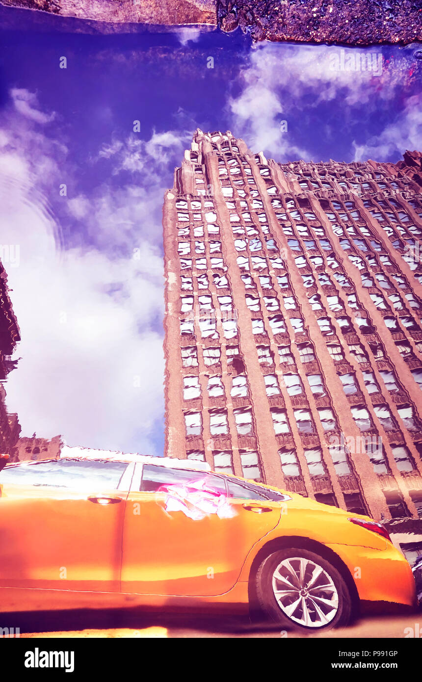 Distorted view of New York City yellow taxi reflected in a puddle, color toned picture, USA. Stock Photo