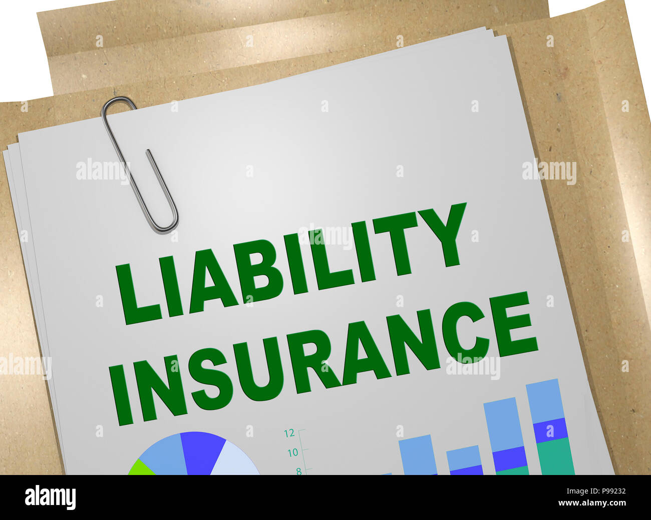 3D illustration of LIABILITY INSURANCE title on business document - Stock Image
