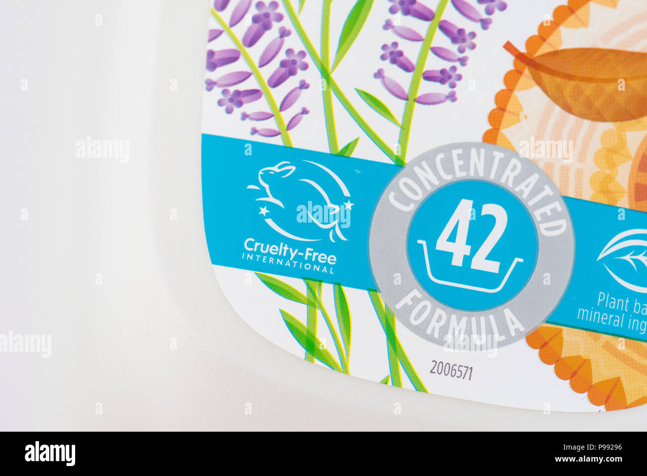 Cruelty Free International logo and symbol on Ecover product - Stock Image