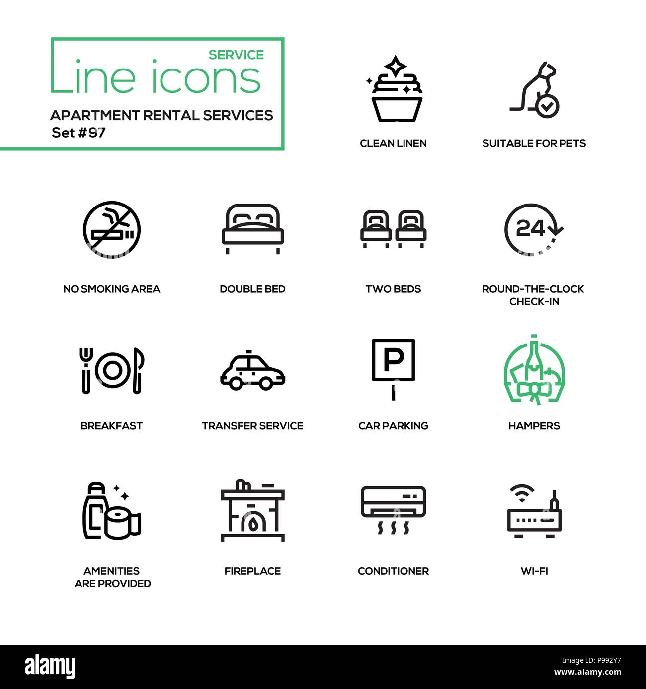 Apartment Rental Help: Line Design Icons Set Stock