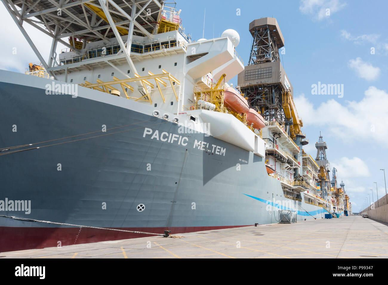 Pacific Drilling drillships in Puerto de La Luz in Las Palmas on Gran Canaria, Canary Islands, Spain Stock Photo