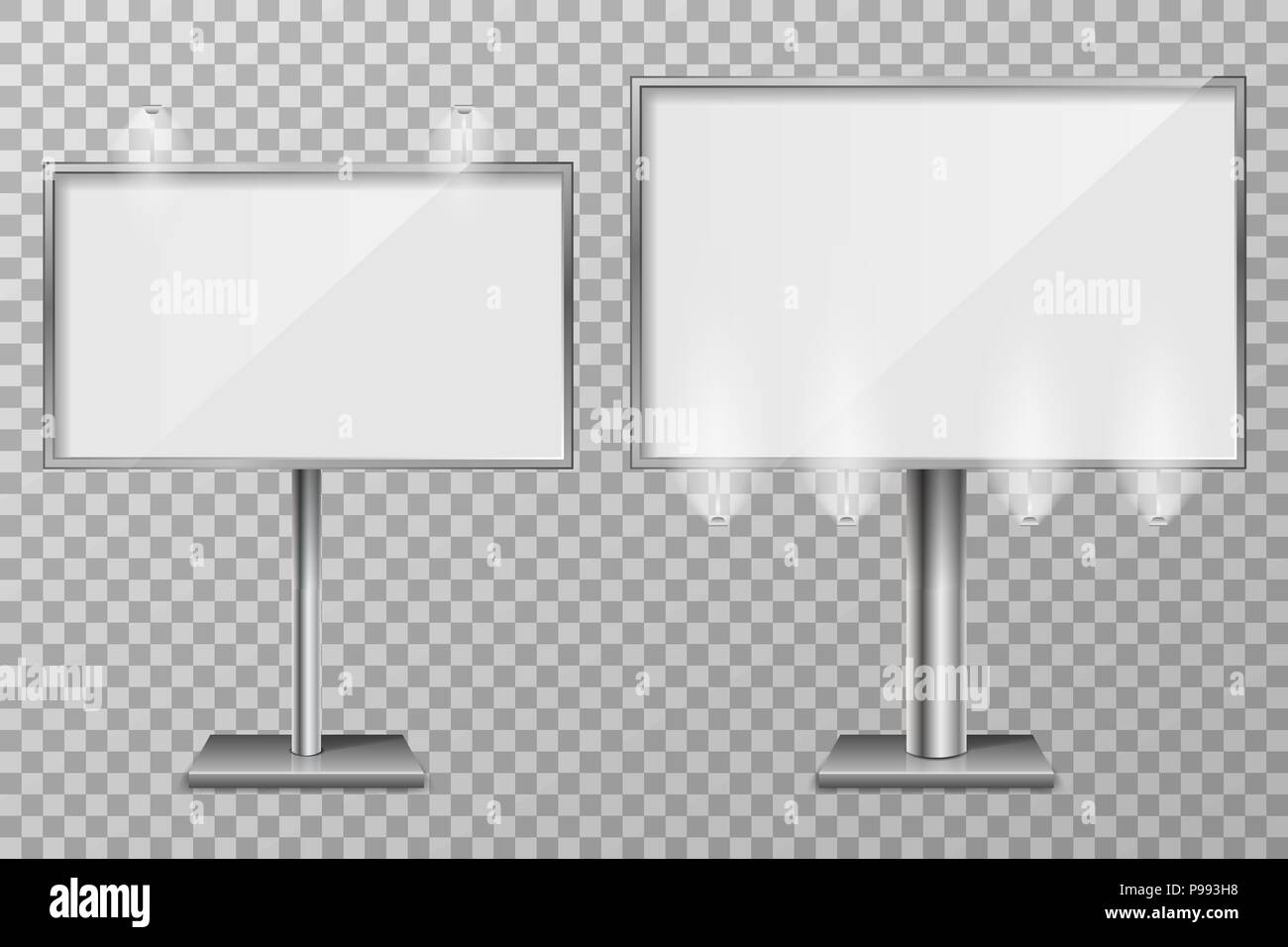 Billboard template design for outdoor advertising and design. 3d Retail lighting billboards. Business concept of lightbox screen. vector illustration - Stock Vector