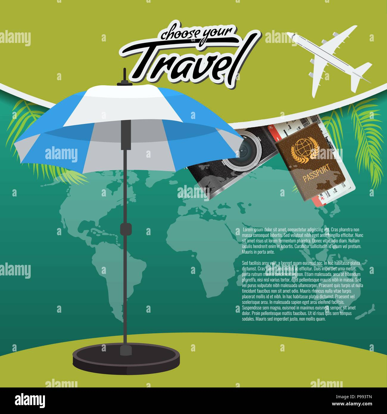 3d realistic travel and tour creative poster design with realistic 3d realistic travel and tour creative poster design with realistic airplane beach umbrella world map passport and air tickets with palm tree leaf gumiabroncs Images