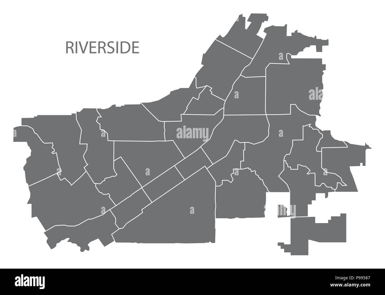 Riverside California city map with neighborhoods grey illustration on