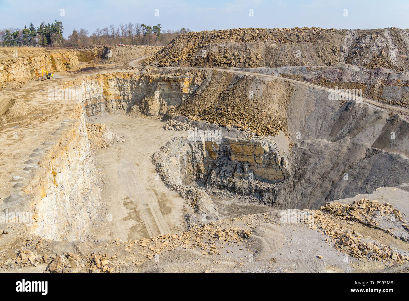 sunny illuminated stone pit scenery in Southern Germany - Stock Image