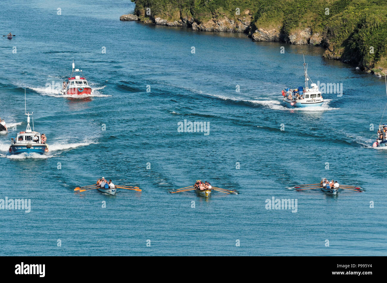 Traditional pilot Gig rowing contest for Atkinson Trophy,Gannel river to Newquay Harbour,UK 14Th, July, 2018  Robert Taylor/Alamy Live News.  Newquay, - Stock Image