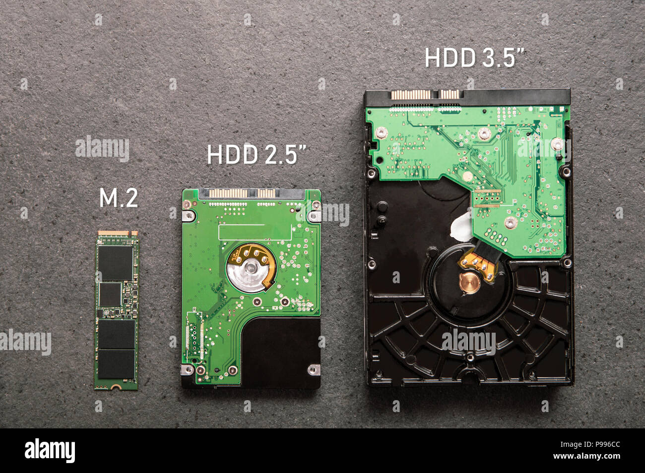 Three drives arranged on a stone slab. Comparison of SSD M.2 drive with HDD 2.5' and 3.5' - Stock Image