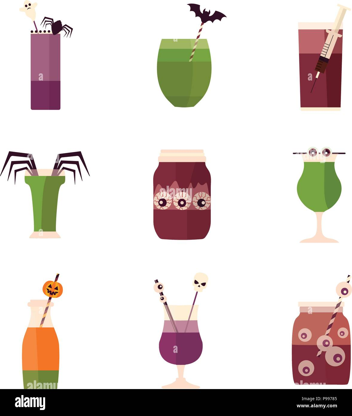 halloween party cocktails and drinks menu stock vector art