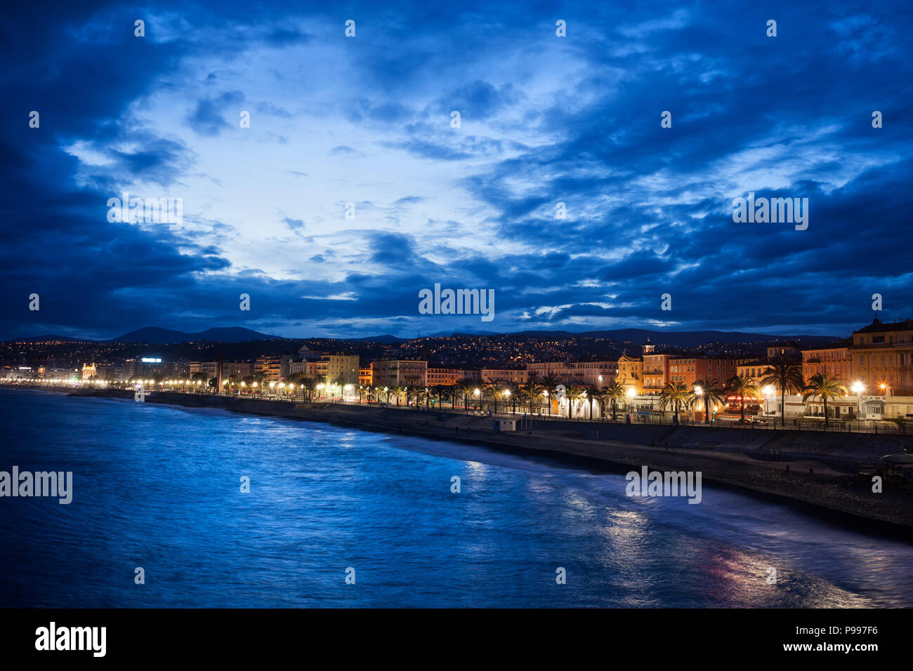 Nice city skyline at blue hour twilight in France - Stock Image