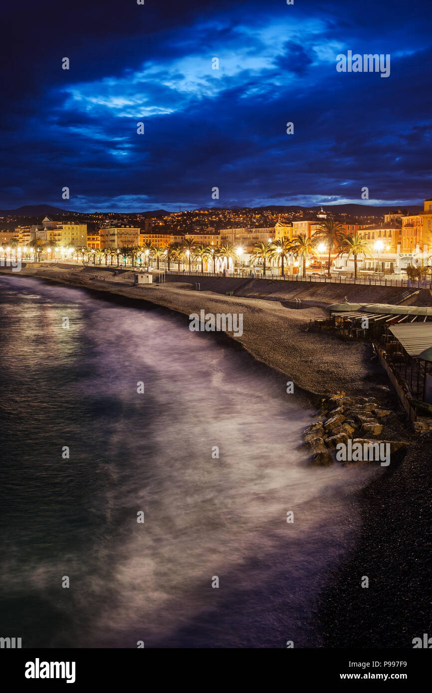 Nice city skyline in France, sea and beach in the evening - Stock Image