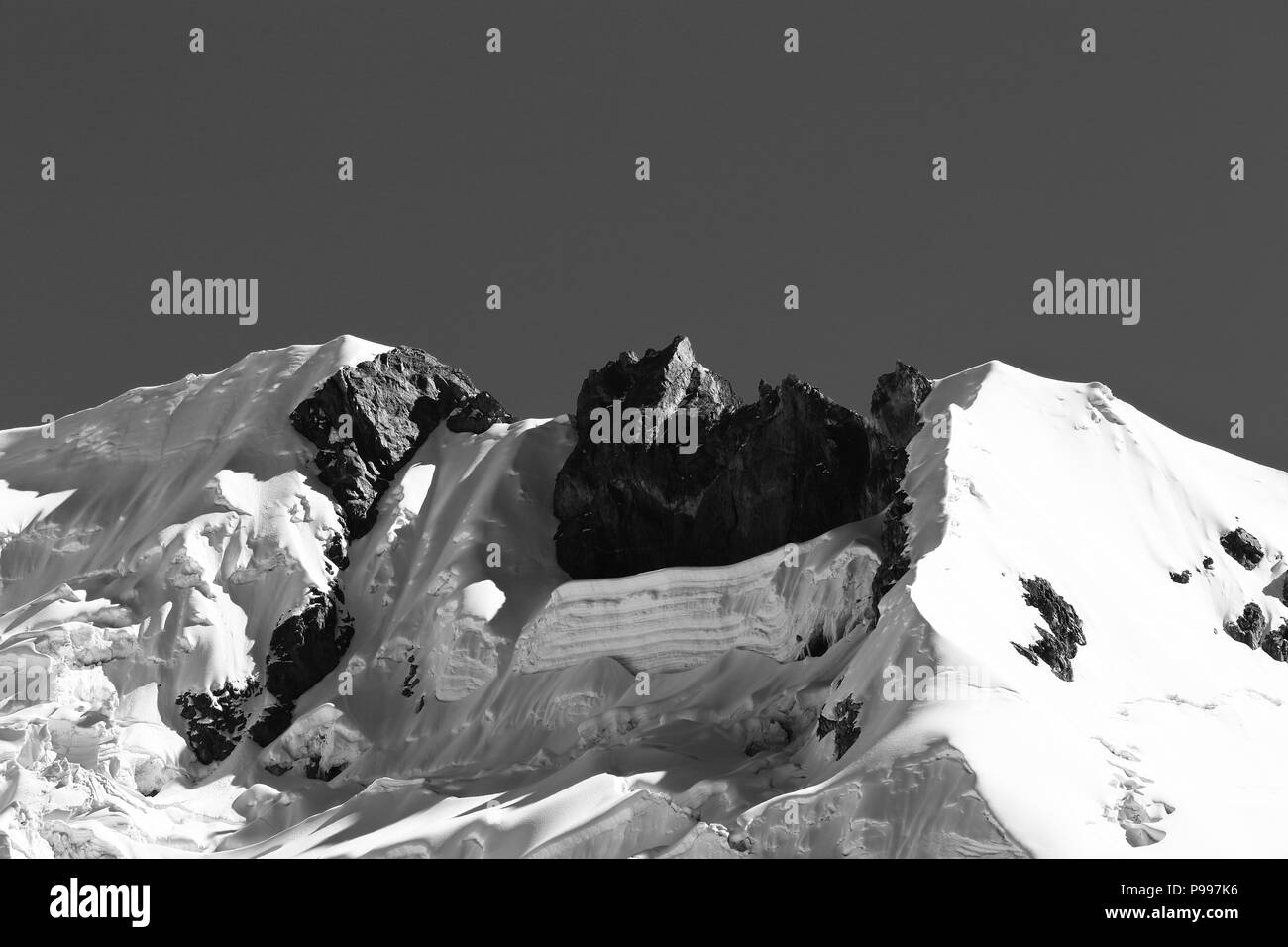 Detail of snowy huaytapallana - Stock Image