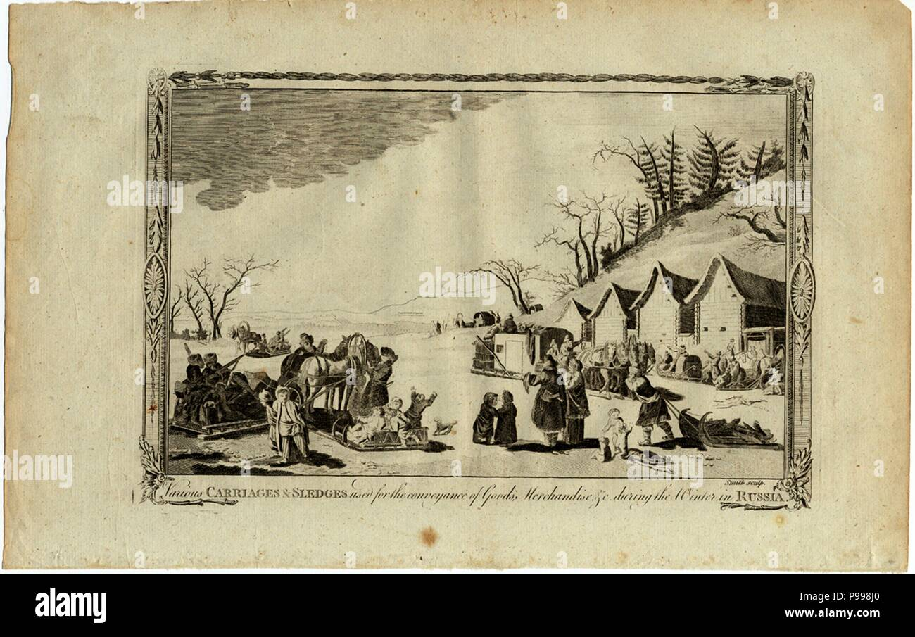 Carriages and sledges during the Winter in Russia. Museum: PRIVATE COLLECTION. Stock Photo