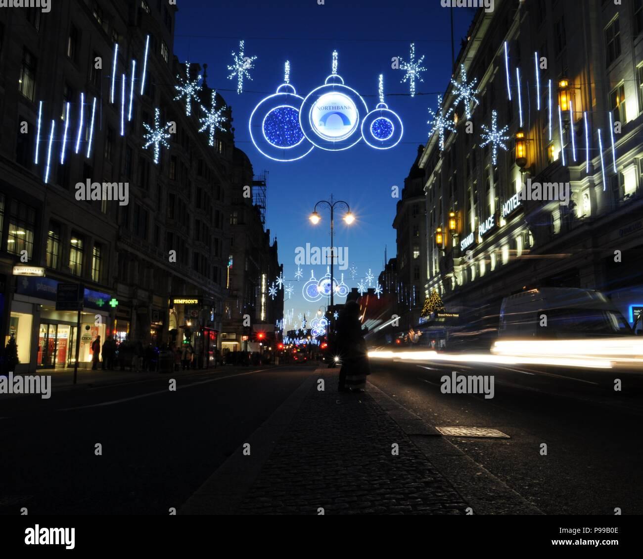 christmas lights on the strand london uk
