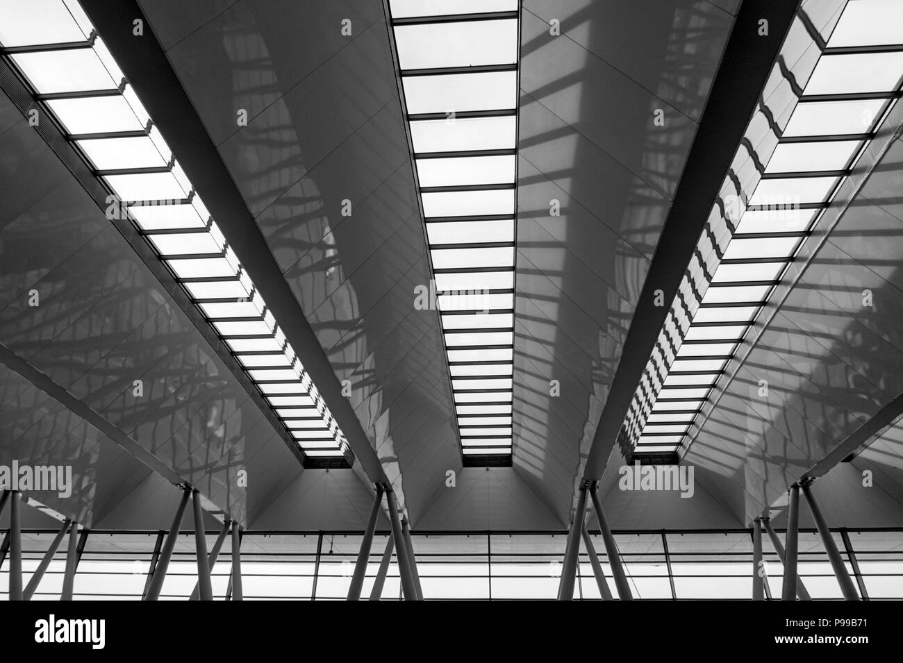 Rooflighting at Budapest Airport - Stock Image