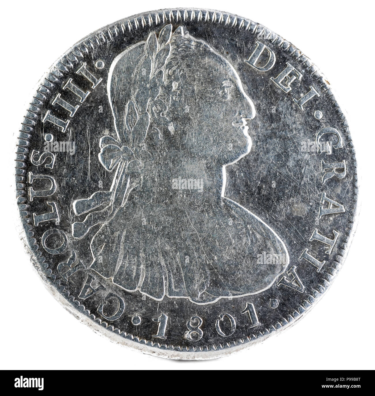 Ancient Spanish silver coin of the King Carlos IV. 1801. Coined in Potosi. 8 reales. Obverse. - Stock Image