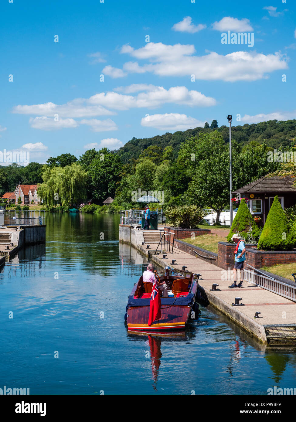 Launch Using, Hambleden Lock and Weir, River Thames, Berkshire, England, UK, GB. Stock Photo