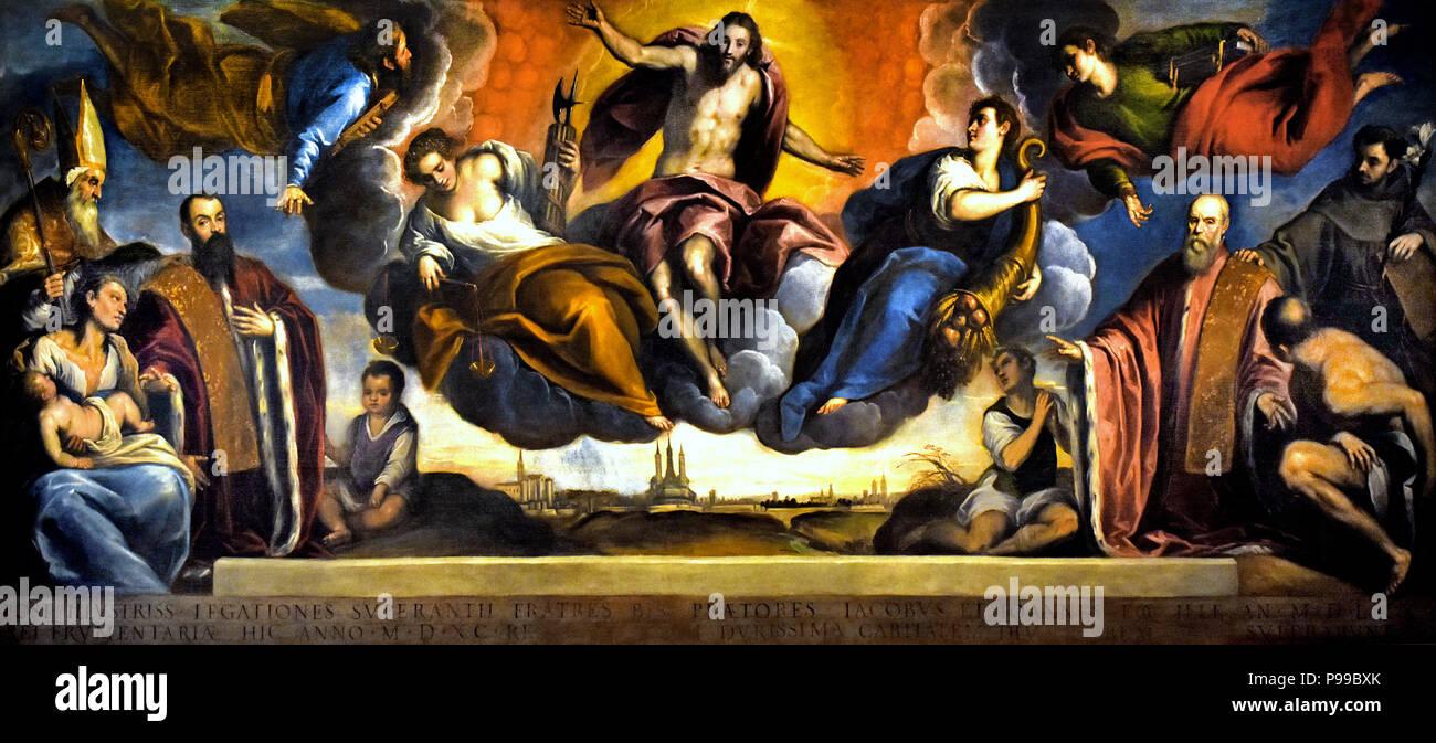 The celebratory painting of the rectors Jacopo and Giovanni Soranzo by Jacopo Negretti 1548 - 1628 ( Jacopo or Giacomo Palma il Giovane - Palma Giovane ) , Italy Italian - Stock Image