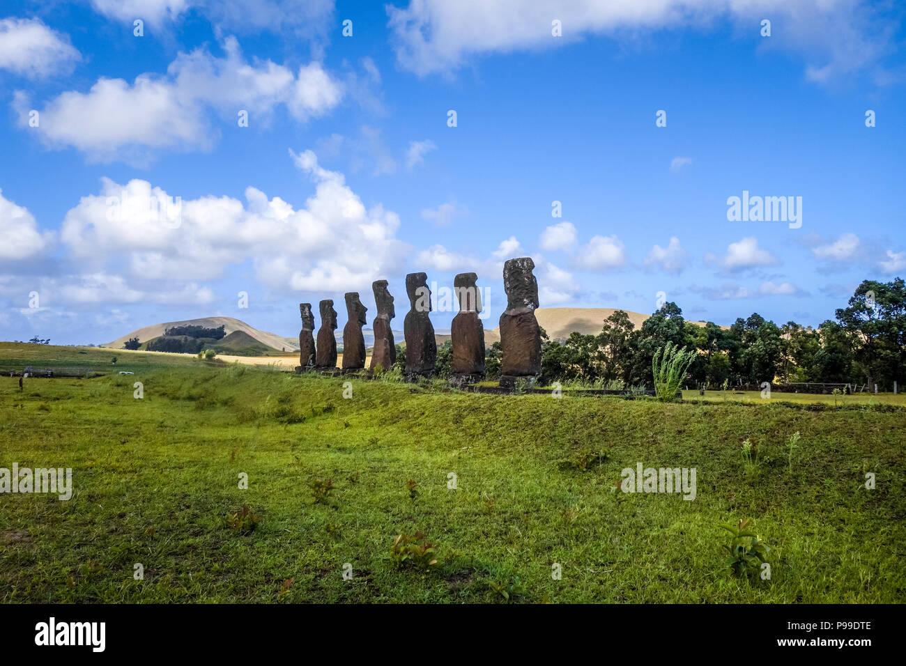 Moais statues, ahu Akivi, easter island, Chile - Stock Image