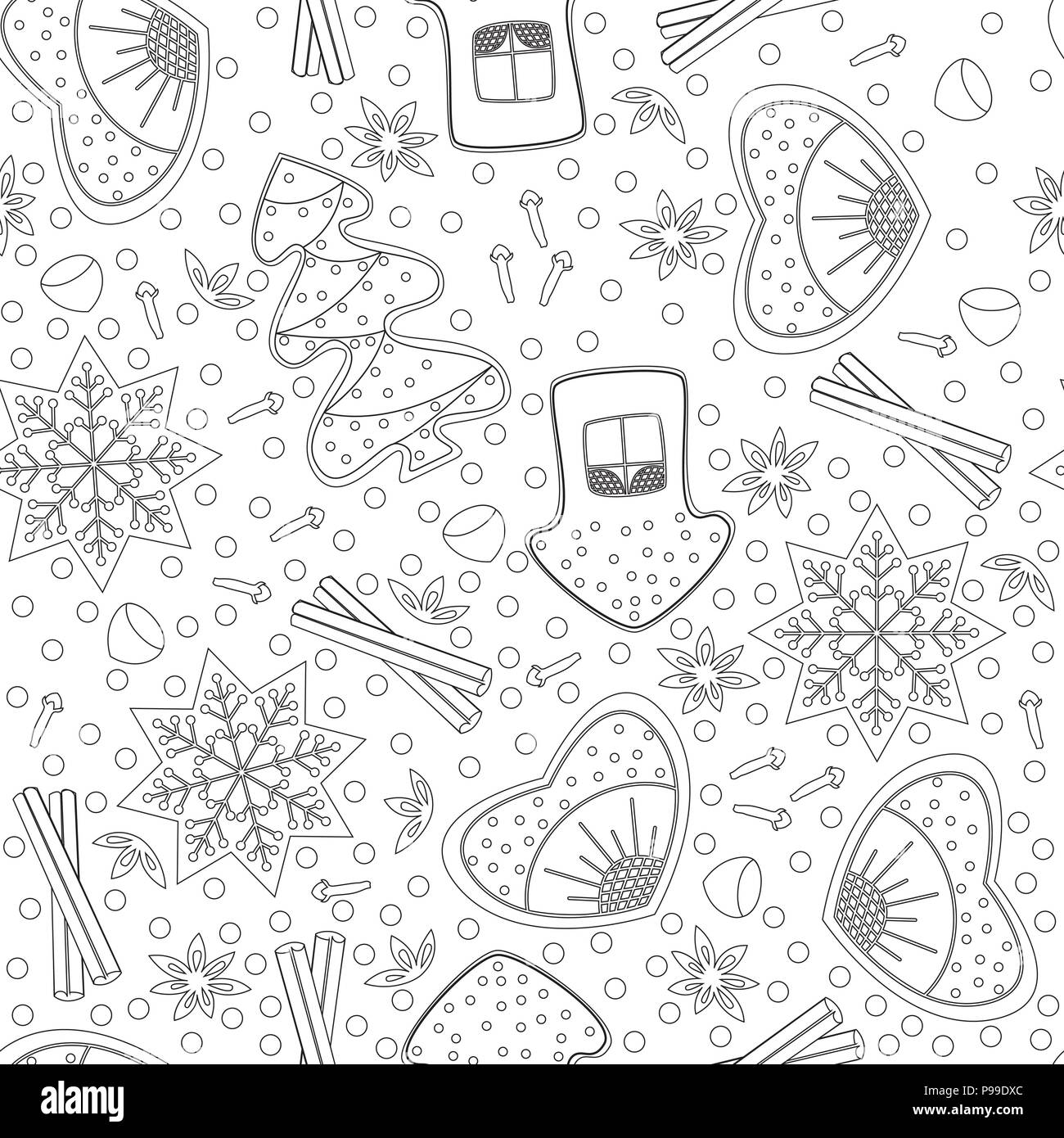 Gingerbread. Seamless Pattern. Coloring book for adults and children ...