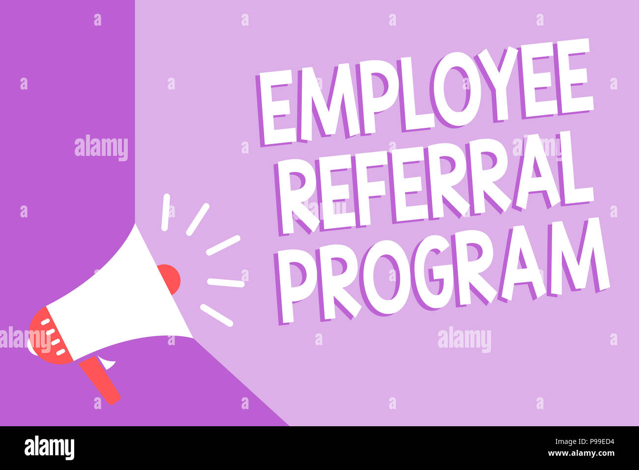 Word writing text Employee Referral Program. Business concept for employees recommend qualified friends relatives Megaphone loudspeaker purple backgro - Stock Image
