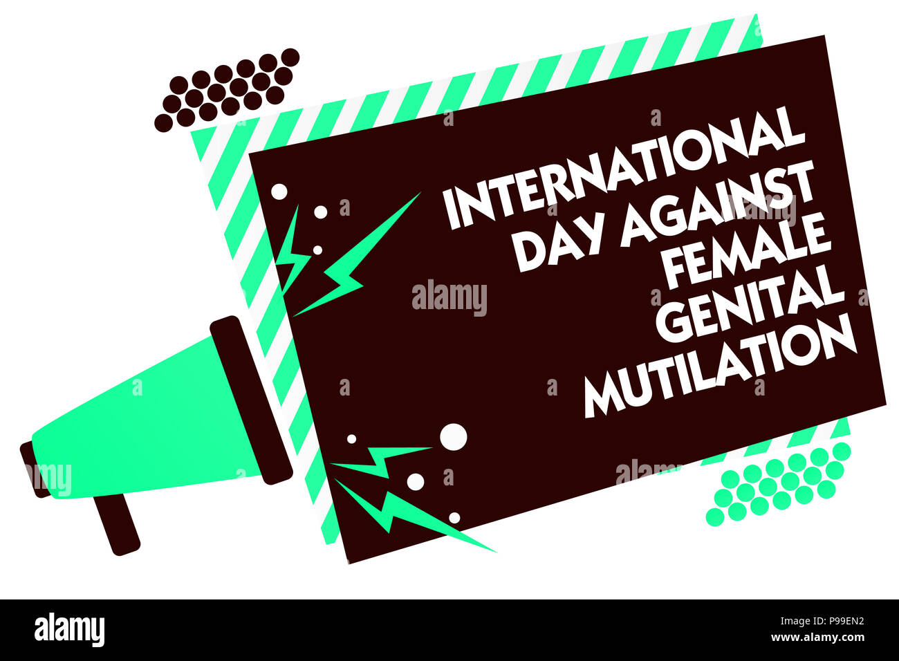 Word writing text International Day Against Female Genital Mutilation. Business concept for awareness day February Megaphone loudspeaker green striped - Stock Image