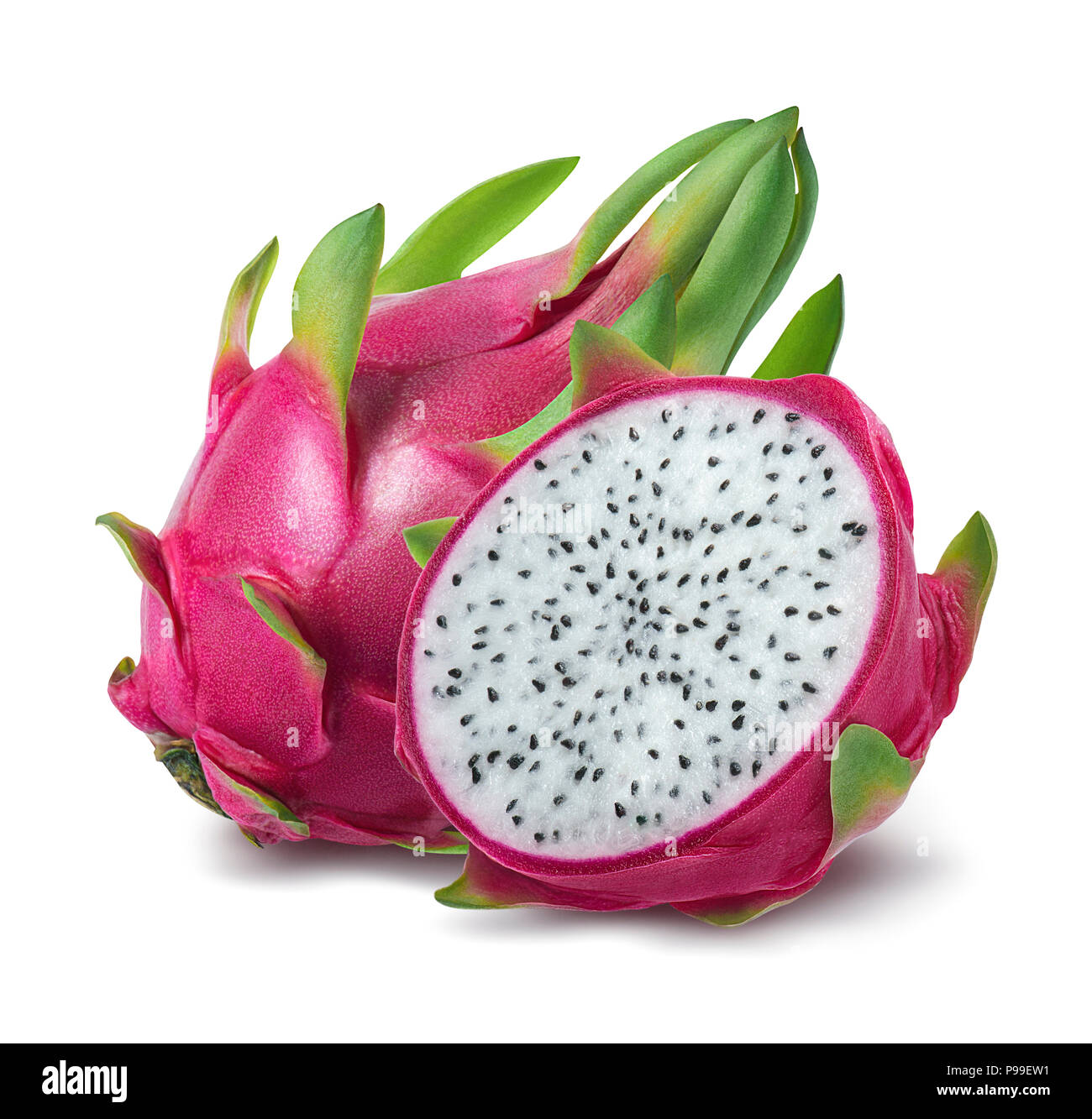 Dragon fruit or pitahaya isolated on white background as package design element - Stock Image