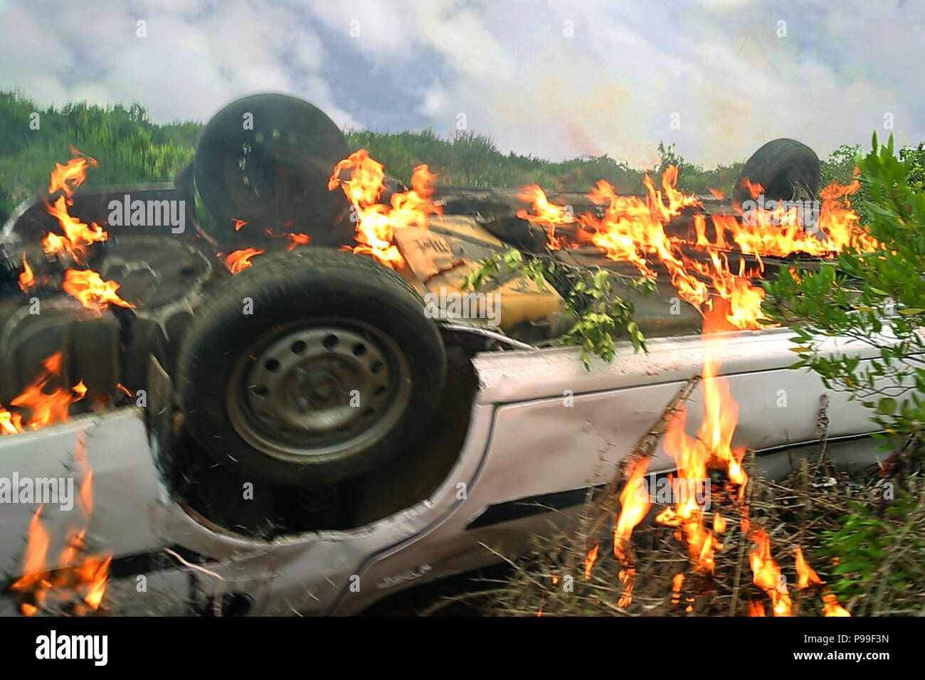 Cars On Fire Car Accident And Fire On Forests Day Effects Stock