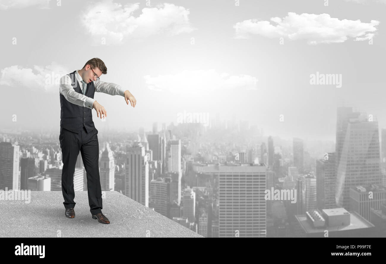 Zombi elegant businessman on the top of the city  - Stock Image