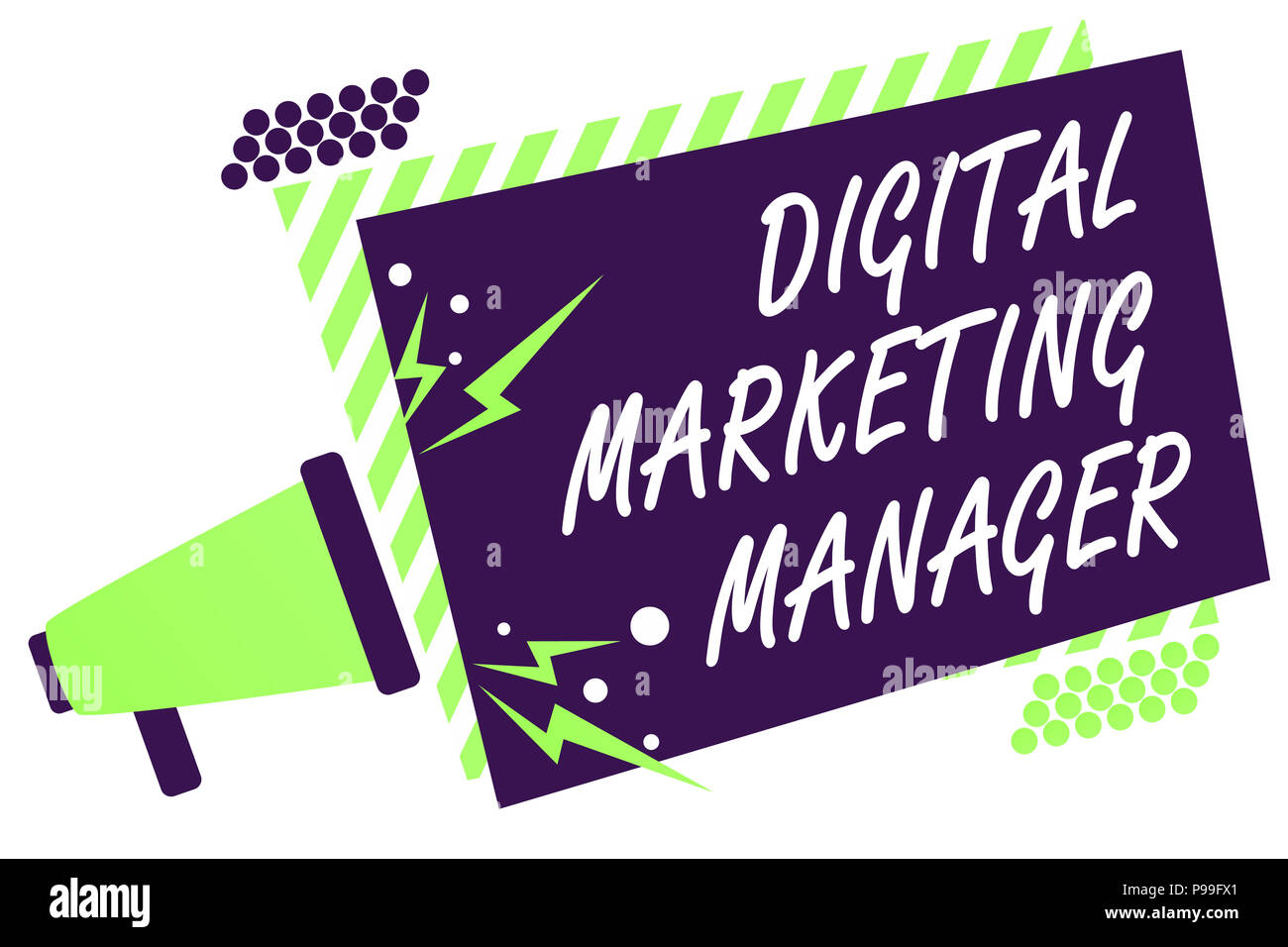 Text sign showing Digital Marketing Manager. Conceptual photo optimized for posting in online boards or careers Megaphone loudspeaker green striped fr - Stock Image