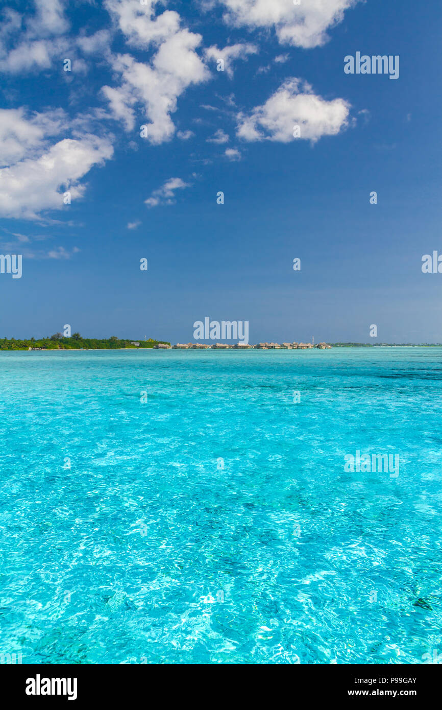 perfect tranquil beach scene in maldives tropical beach background