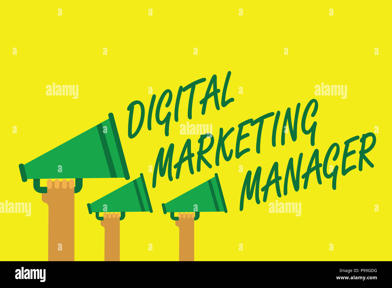 Handwriting text writing Digital Marketing Manager. Concept meaning optimized for posting in online boards or careers Hands holding megaphones loudspe - Stock Image