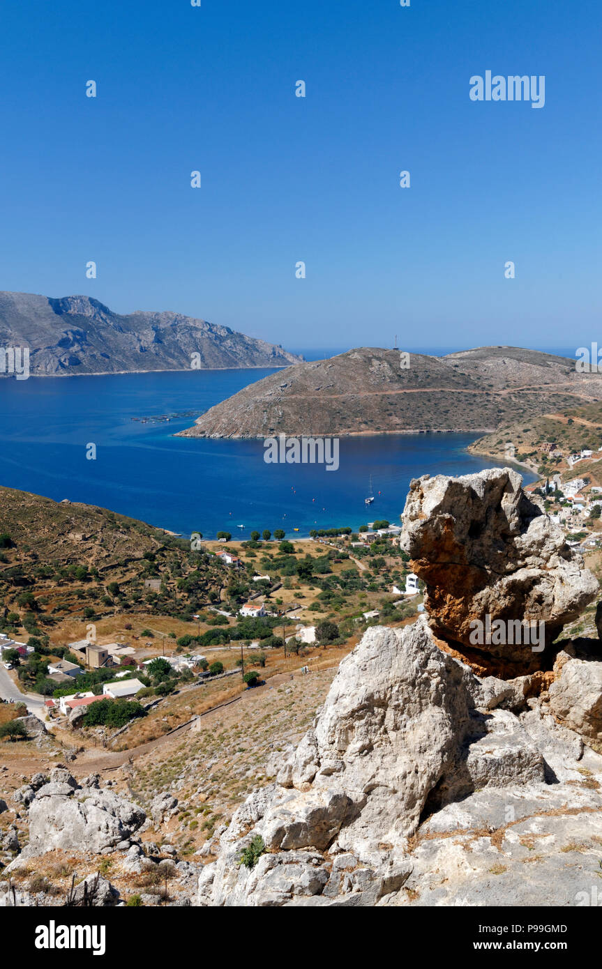 View of coastline of Kalymnos from the Mountains above Emborios, Kalymnos or Kalimnos, Dodecanese Islands, Greece. - Stock Image