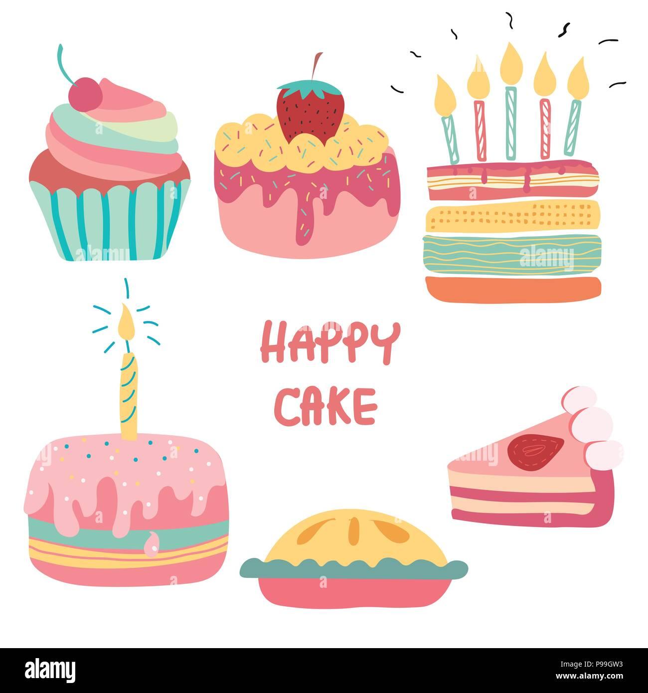 Doodle Hand Drawn Rainbow Cute Birthday Cake Stock Vector Art
