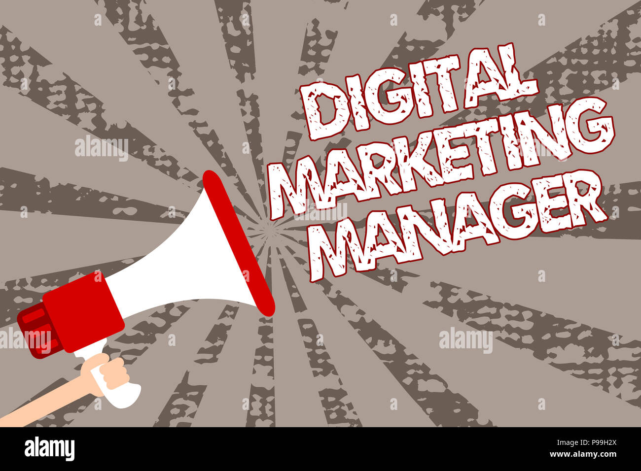 Text sign showing Digital Marketing Manager. Conceptual photo optimized for posting in online boards or careers Man holding megaphone loudspeaker grun - Stock Image